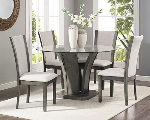 Roundhill Furniture D051GY Kecco Grey 5-Piece Glass Top Dining Set, Table with 4 Chairs