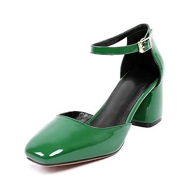 061cb97d19 Amazon.com   VASHOP Women's Ankle Strap Square Toe Block Heel D'Orsay Pumps    Sandals