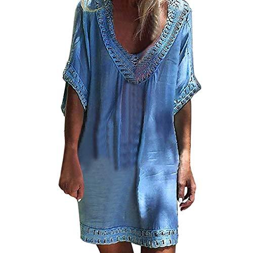 - Women's Summer Casual Sexy Off Shoulder T Shirt Dresses Short Sleeve Bohemian Dress Mini Dress Beach Dress Blue