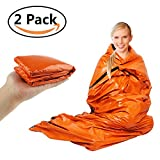 Emergency Sleeping Bags Survival Mylar Thermal Sleeping Bag Blanket up to 90% Heat Retention, Mountaineering Compression Stuff Sack Bivvy Bag, Tongshop Survival Gear for Outdoors Activities,2 Pack