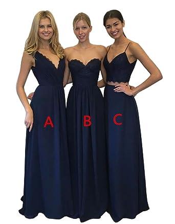 c319fffacda XJLY Charming Navy Blue Lace Floor-Length Chiffon Bridesmaid Dress at  Amazon Women s Clothing store