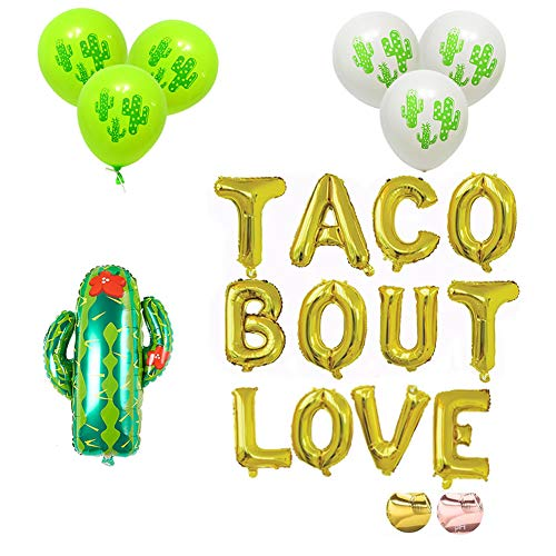 16'' Gold Foil Balloon Balloons Taco Bout Love Cactus Engagement Anniversary Bridal Shower Girl Night Out Fiesta Cactus Party Theme by JW Passion