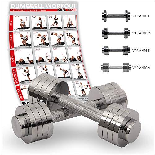 POWRX Mancuernas cromadas Incluye Workout | Pesas Ajustable | 2 x 5kg o 2 x 10kg | Pesas de par de Cromado y moleteados | Ideal para Fitness Fuerza de ...