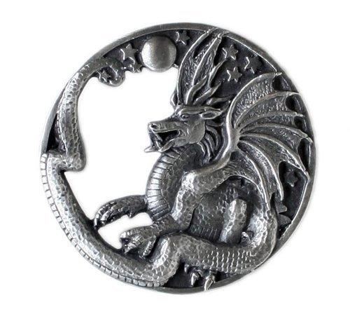 (Pewter Belt Buckle - Fantasy Dragon - Pewter Belt Buckle)