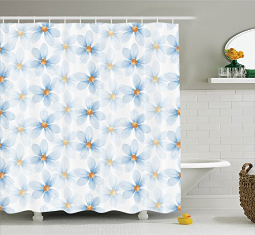 Pastel Yellow Daisy (Watercolor Flower Decor Shower Curtain Set By Ambesonne, Pastel Elegant Floral Pattern Print Chamomiles And Daisies Nature Decor, Bathroom Accessories, 69W X 70L Inches, Blue Yellow)