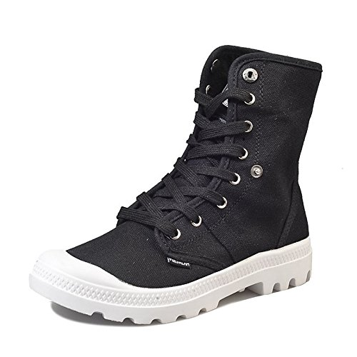 Flat HSXZ Toe White ZHZNVX Casual Canvas Round Heel Boots Black Winter Combat Black Shoes Boots Women's for pqwCq8xT