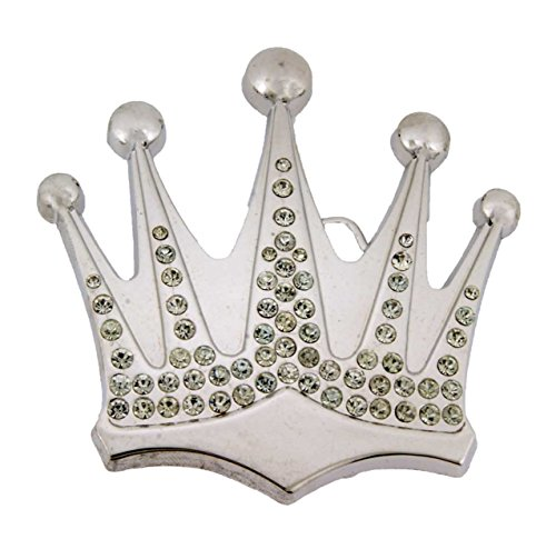 Crown Rhinestone Belt Buckle Royal Princess Prince Pugs Gear Pageant Kings Queen (Silver Rhinestones RR Size: 3.0