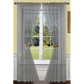 2 Piece Solid Grey Gray Sheer Window Curtains Drape Panels Treatment 55