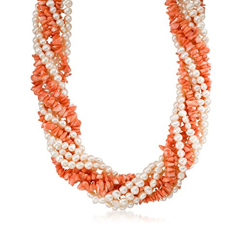 Coral Torsade (Ross-Simons Coral and Cultured Pearl Torsade Necklace With Sterling Silver)