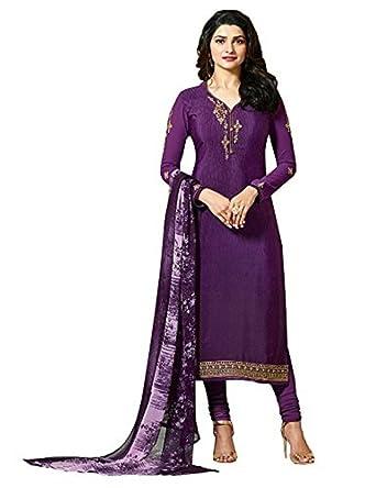 40607d9e2 Amazon.com  Laxminarayan Ready Made Purple Royal Crepe Embroidered ...