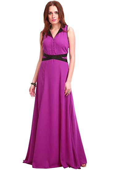 b2b30caafe SASSAFRAS Women s Purple Solid Maxi Dress  Amazon.in  Clothing   Accessories
