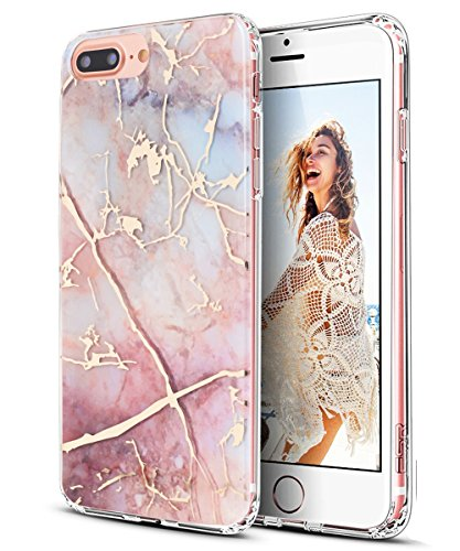 iPhone 7 Plus Case,iPhone 8 Plus Case,Spevert Marble Pattern Hybrid Hard Back Soft TPU Raised Edge Ultra-Thin Shock Absorption Protective Case for iPhone 7 Plus/iPhone 8 Plus – Colorful
