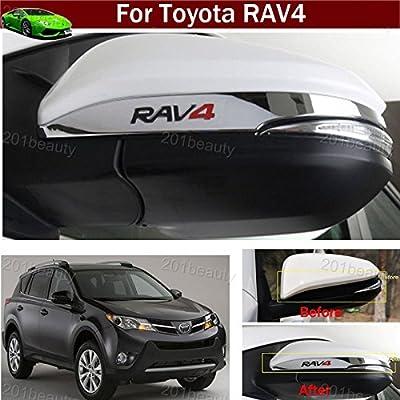 2pcs ABS Chrome Rearview Side Mirror Cover Trim Strip Emblems For Toyota RAV4 2013 2014 2015 2016
