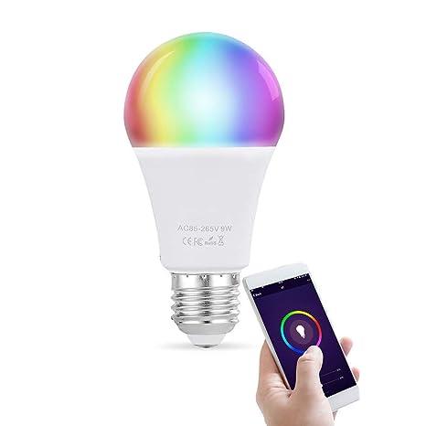 Bombilla inteligente de 9W LED WiFi lámpara multicolor DEFGOTOP funciona con Alexa, Echo, Google