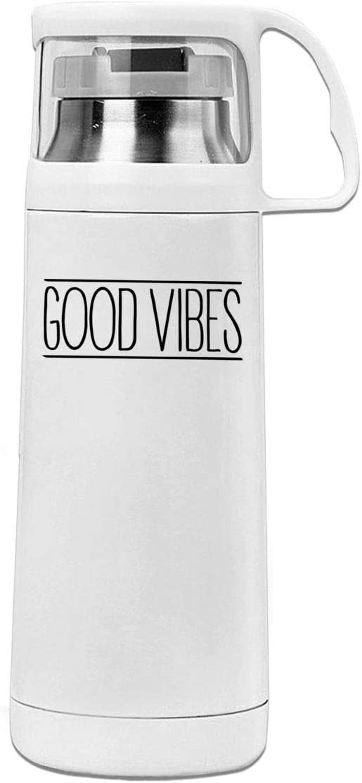 Bestqe Termo,Botella de agua,Tazas térmicas Good Vibes 11.8oz Travel Vacuum Insulated Water Bottle Cover Cup Stainless Steel Thermos Cup