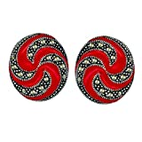 Sterling Silver Marcasite Red Enamel Swirl Line Post Earrings