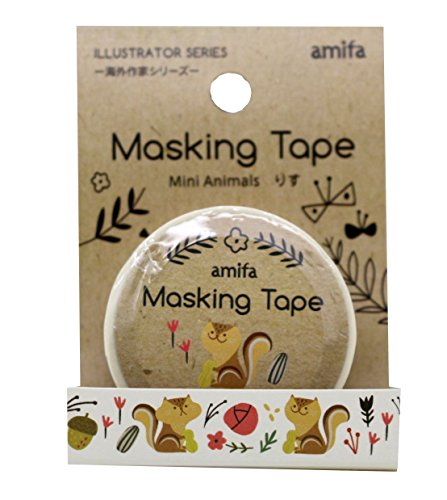 New Amifa Mini Squirrel Illustrator Edition Washi Masking Deco Tape Standard. -
