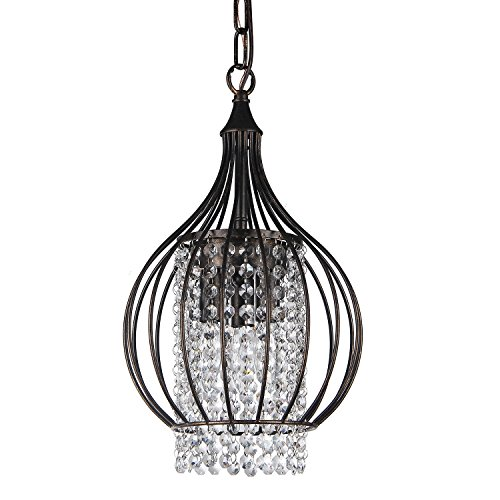 - Edvivi 3-Light Antique Bronze Metal Bell Shade Crystal Chandelier Pendant Light Ceiling Fixture | Glam Lighting
