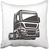 Throw Pillow Cover Square 18x18 Inches Black Abstract Truck Car Cargo Freight Illustaration Blue Auto Big Commercial Courier Delivery Polyester Decor Hidden Zipper Print On Pillowcases