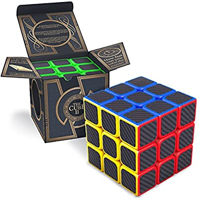 aGreatLife Carbon Fiber Color Cubic Toy - Speed Cube 3x3x3 Logic Puzzle - Best Road Trip Games for Kids