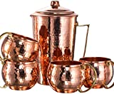*NEW* CopperBull Heavy Gauge 100% Pure Solid Hammered Copper Moscow Mule Water Serving Set (Pitcher & 4 Mugs)