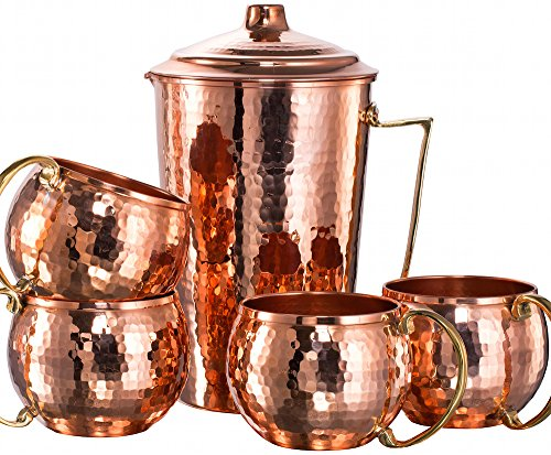 *NEW* CopperBull Heavy Gauge 100% Pure Solid Hammered Copper Moscow Mule Water Serving Set (Pitcher & 4 Mugs) by CopperBull