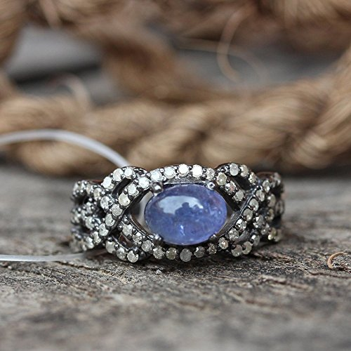 Natural 0.4 Ct. Pave Diamond Tanzanite Wedding Ring Solid 925 Sterling Silver Engagement Fine Handmade Jewelry