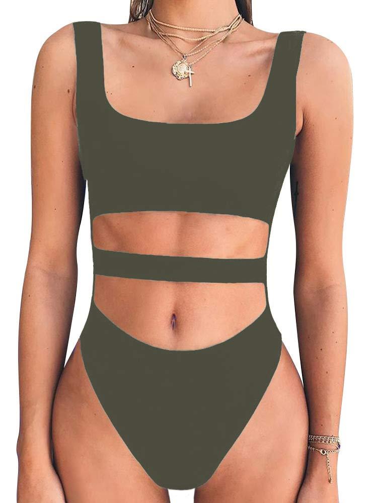 BEAGIMEG Women's Tank Top Cut Out Sleeveless Bodice Bodysuit Party Clubwear BA044