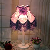 HAGDS The Latest Lace European Style Lamp Bedroom Bedside Dimming Wedding Wedding Luxury Retro Warm Decoration Bedside Lamp (Color : Purple)
