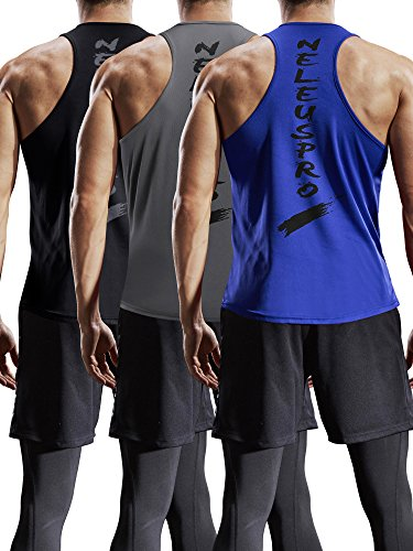 Neleus Men's 3 Pack Mesh Workout Muscle Tank Top,5007,Black,Dark Grey,Blue,US L,EU XL