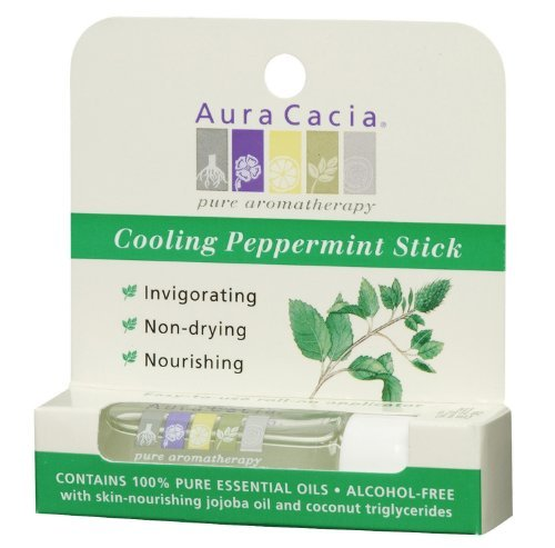 Aura Cacia Aromatherapy Roll-On Stick, Cooling Peppermint, 0.29 Fluid Ounce by Aura Cacia