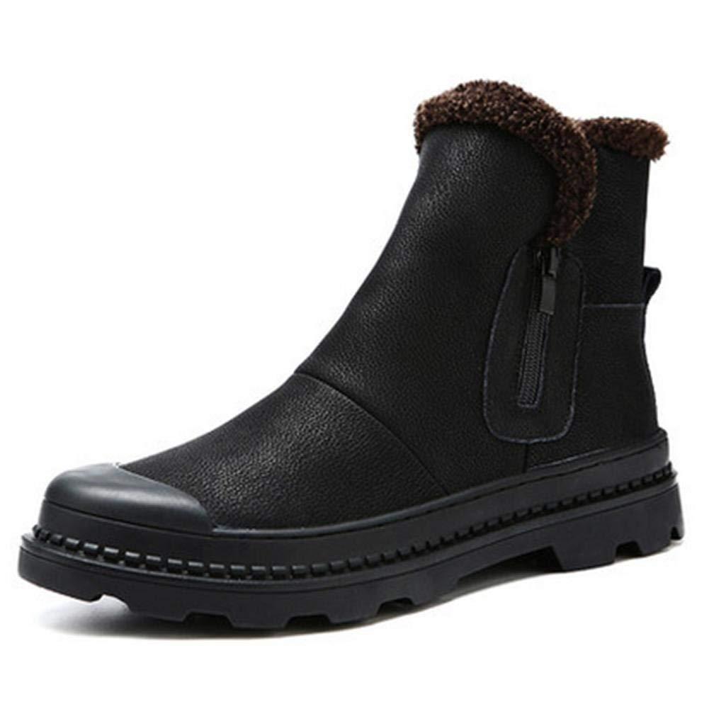 FuweiEncore Schnee Stiefel männlichen Winter warme Plüsch Dicke Wasserdichte Rutschfeste Herren Baumwolle Schuhe (Farbe   Schwarz, Größe   EU 40)