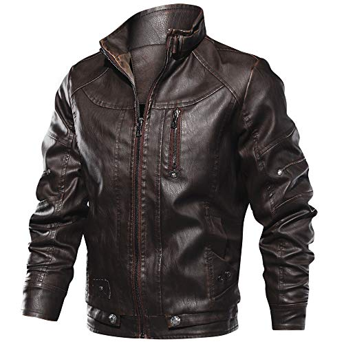 CRYSULLY Fall Winter Outerwear Bomber Jacket Stylish Pocket Coat Classic Leather Jacket for Men Coffee Classic Mens Leather Bomber Jackets