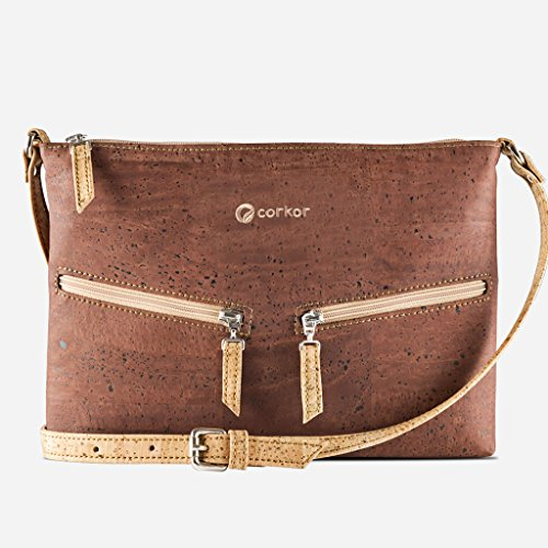 Bag Women Front Maron Marron Cork Pockets Clair from Cross Brown Travel Vegan Corkor for Body qwRUExXnfI