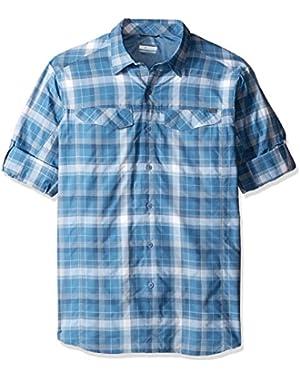 Men's Big-Tall Silver Ridge Plaid Long Sleeve Shirt, Steel Window Pane, Large