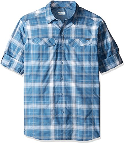 Columbia Men's Big-Tall Silver Ridge Plaid Long Sleeve Shirt, Steel Window Pane, Large by Columbia