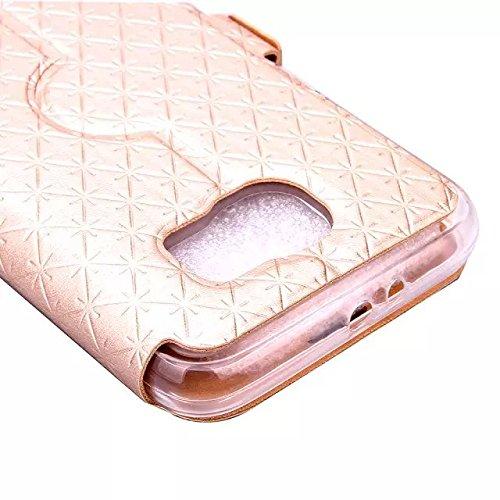 JIALUN-Personality teléfono shell Funda Samsung Galaxy S6, cuadrado enrejado del diamante del caso de la cubierta de la caja de la caja de la caja de cuero de la PU con la ranura para tarjeta para Sam Gold