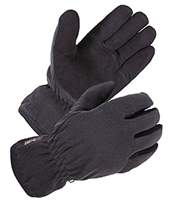 SKYDEERE Winter Work Gloves - Soft Deerskin Suede Leather and Fleece Back, with 3M Thinsulate Insulation Cotton Suitable for Windproof, Warm, Running, Cycling and Driving (Black Medium)