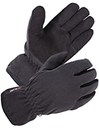 Winter Glove with Warm Deerskin Suede Leather and Thick Windproof Polar Fleece