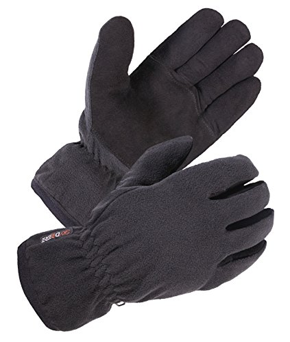 SKYDEERE Driving Winter Gloves - Warm Soft Deerskin Suede Leather and Windproof Polar Fleece Glove, with 3M Thinsulate Insulation Suitable for Outdoor Sport and Keep Warm in Cold Weather (Large Black)