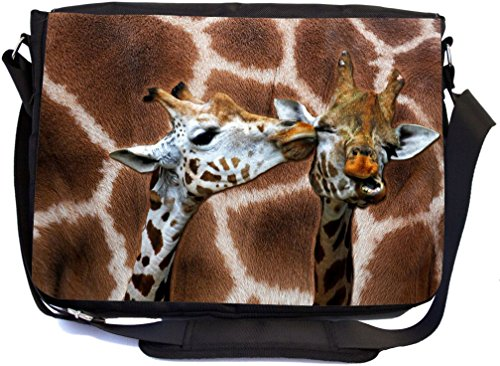 Rikki Knight Giraffe Kissing on Giraffe Print Design Multifunctional Messenger Bag - School Bag - Laptop Bag - with padded insert for School or Work - Includes Matching Compact Mirror