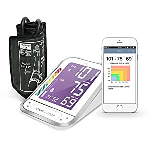 1byone Bluetooth Digital Blood Pressure Monitor with Large Easy-to-Read Backlit LCD Machine, One Size Fits All Upper Arm Cuff, Free Mobile App, Sphygmomanometer Nylon Storage Case, White