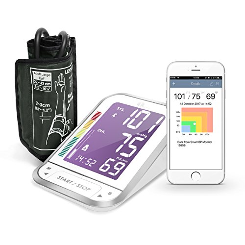1byone Bluetooth Digital Blood Pressure Monitor with Large Easy-to-Read Backlit LCD Machine, One Size Fits All Upper Arm Cuff, Free Mobile App, Sphygmomanometer Nylon Storage Case, White (One Arm Storage)