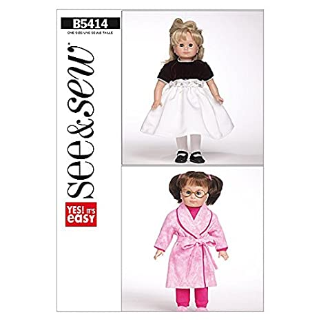 Amazon Butterick See Sew Craft Easy Sewing Pattern 5414 Doll