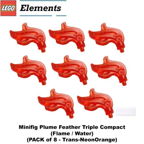 Lego Parts: Minifig Plume Feather Triple Compact (Flame / Water) (PACK of 8 - Trans-NeonOrange)