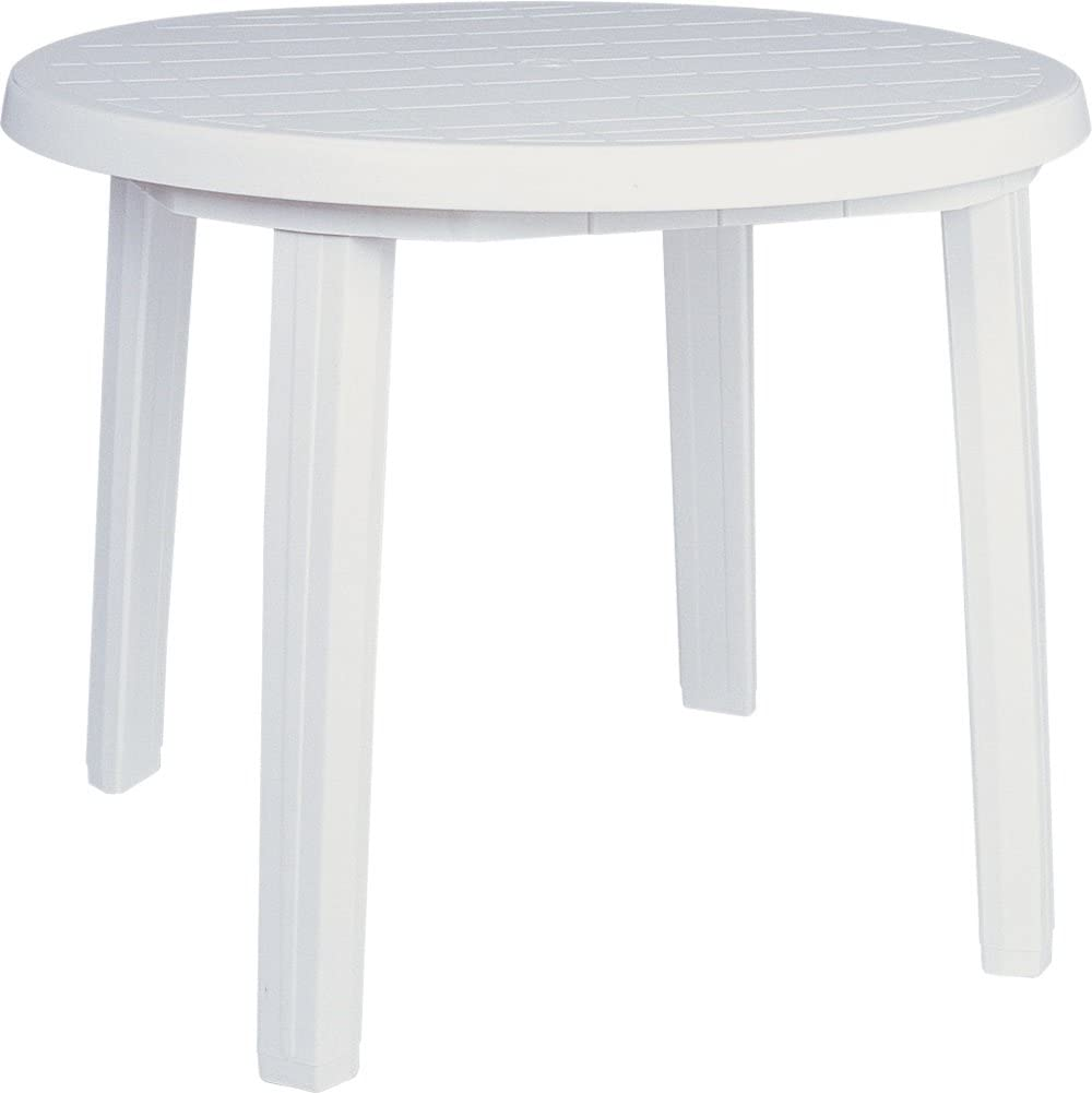 Compamia Ronda 36 Round Resin Patio Dining Table in White, Commercial Grade