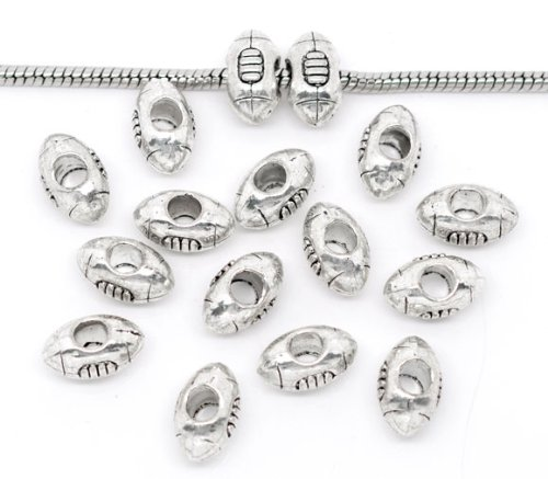 (PEPPERLONELY Brand 30PC Antiqued Silver Football Large Hole Beads Fit European Bracelet 14x9mm)