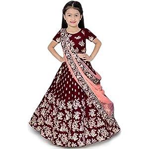 eneric Girl's Jute Cotton Semi-stitched Lehenga Choli