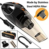 Hikeren Car Vacuum Cleaner, DC 12-Volt 106W 4300-4500PA Handheld Wet&Dry Multifunctional Auto Vacuum Cleaner, 16.4FT(5M) Power Cord with LED Light Stainless Steel HEPA Filter, One Carry Bag (Black)