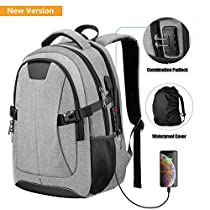 PICTEK Anti-Theft Backpacks with USB Charging Port,25L College Backpack for Laptop with Thicken Pad and Rain Cover for men